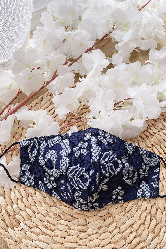 TSW Katelyn Floral Lace Mask in Navy
