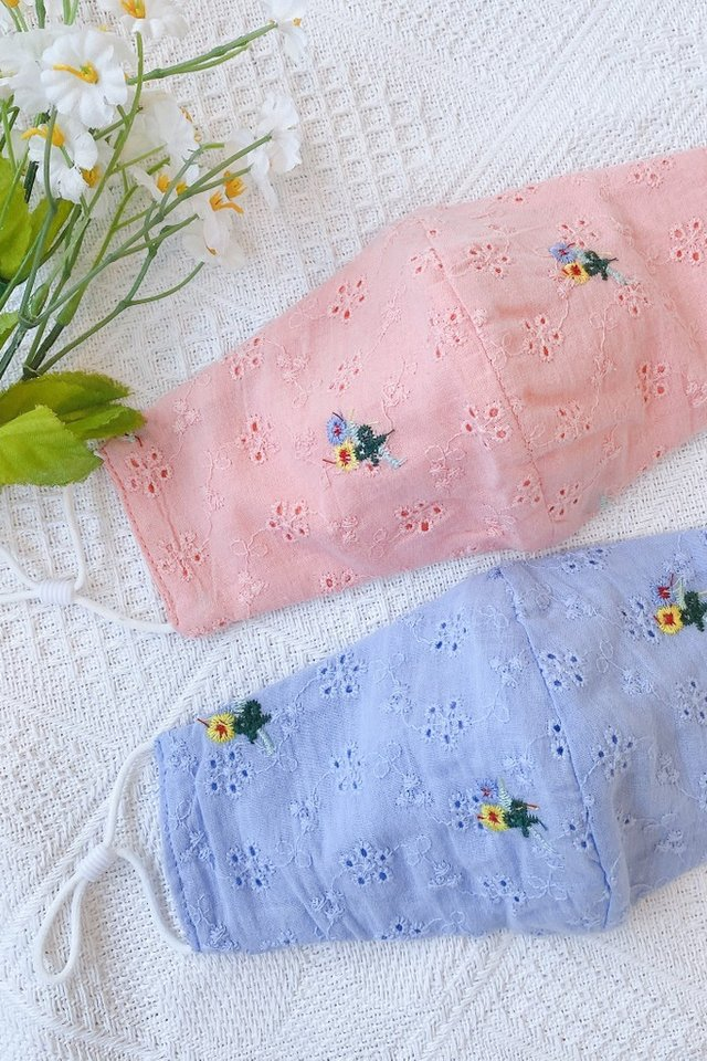 TSW Shea Floral Eyelet Mask in Peach Pink