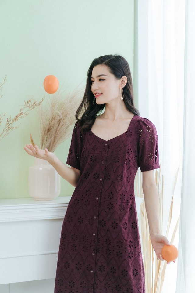 Heidi Eyelet Button Midi Dress in Plum