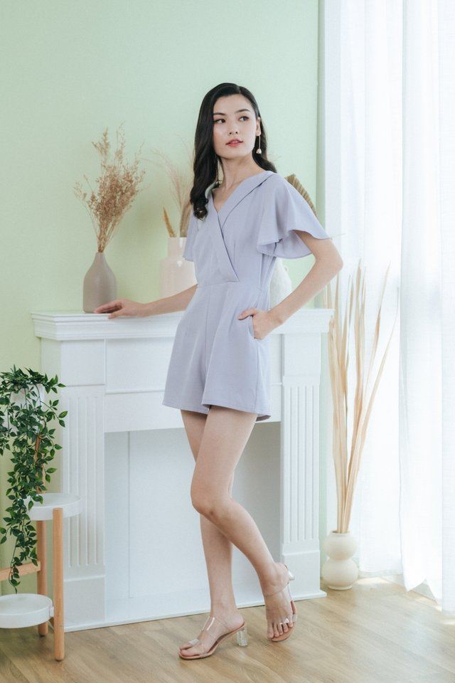 Morgan Faux Wrap Romper in Grey