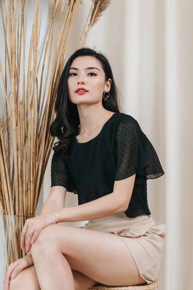 Vivienne Textured Swiss Dot Top in Black