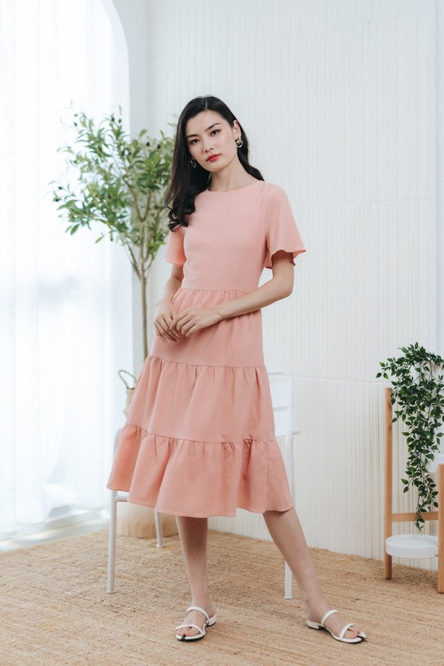 Pamella Textured Tiered Midi Dress in Blush