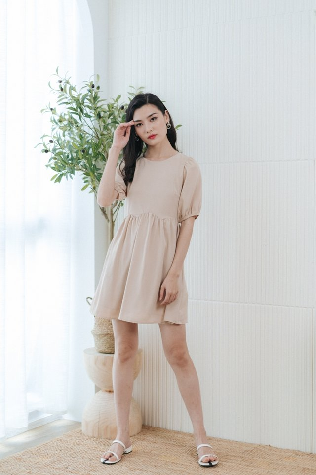 Jamie Scallop Babydoll Dress in Sand