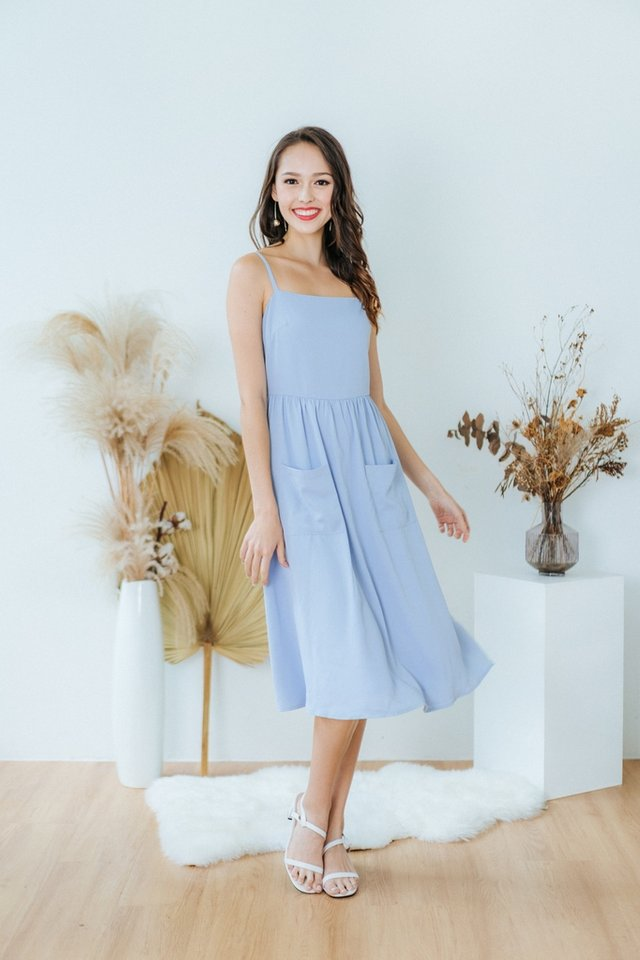 Marion Pocket Midi Dress in Blue
