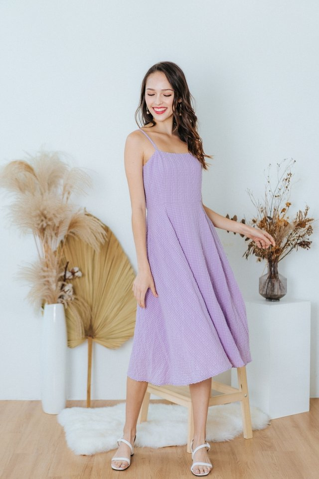 Lidia Textured Flare Midi Dress in Lilac