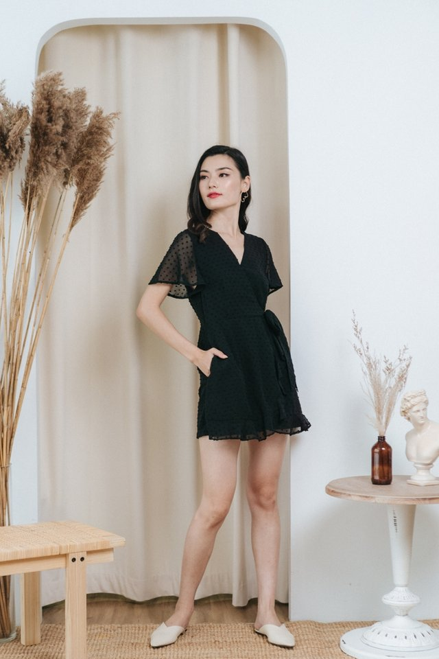 *BACKORDER* Fayah Swiss Dot Ruffles Romper in Black