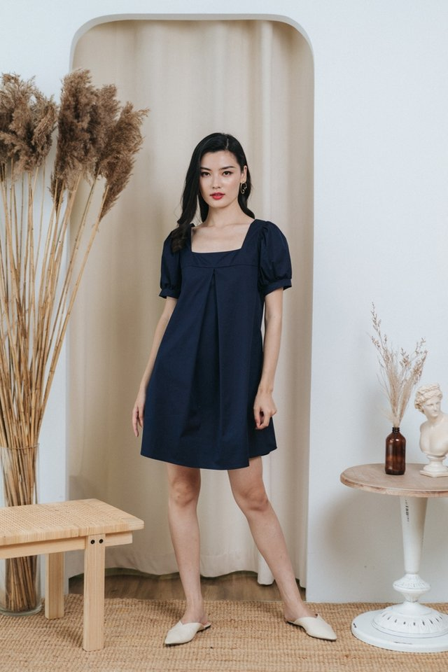 Axella Square Neck Dress in Navy