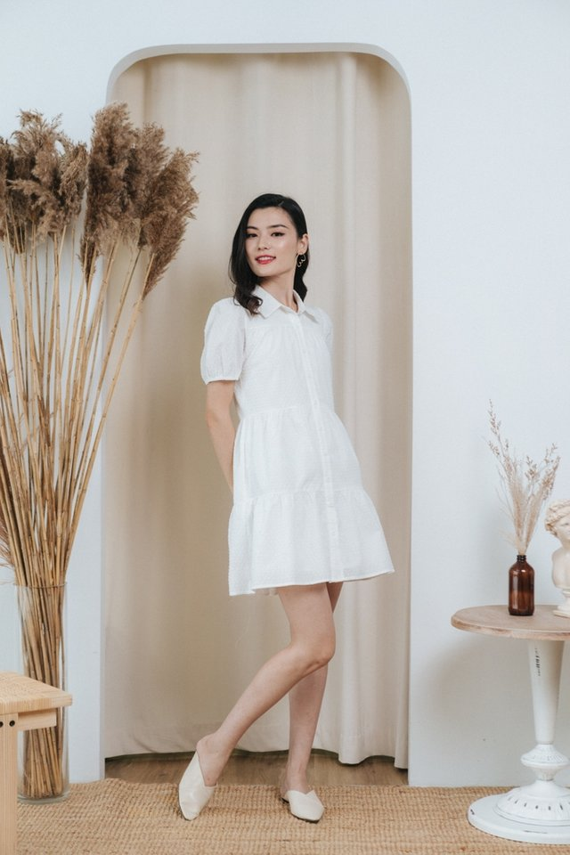 *BACKORDER* Dionne Swiss Dot Button Dress in White