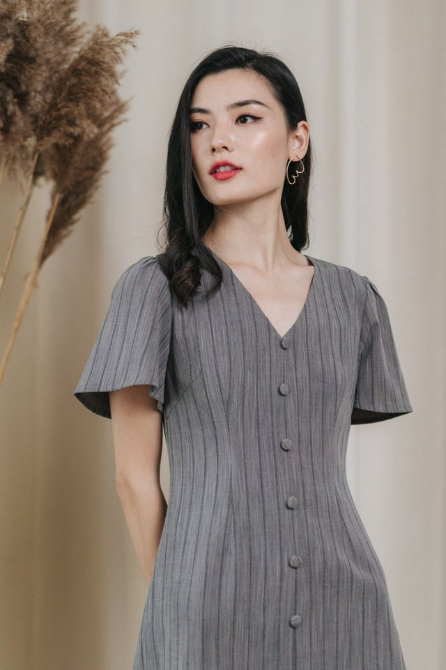Amabella Button Dress in Grey