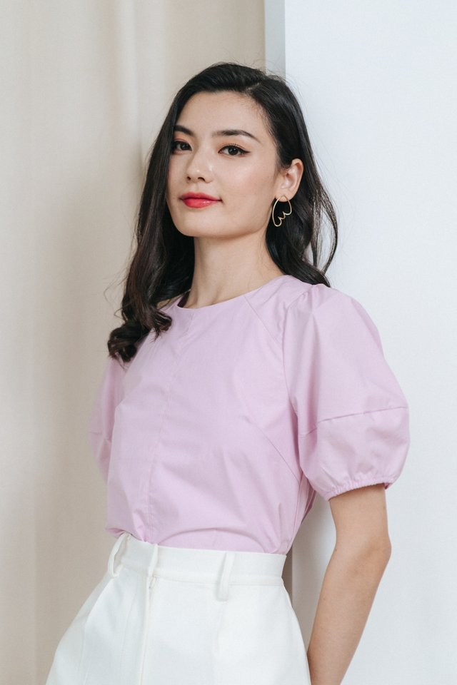 Louella Puffed Sleeves Top in Pink