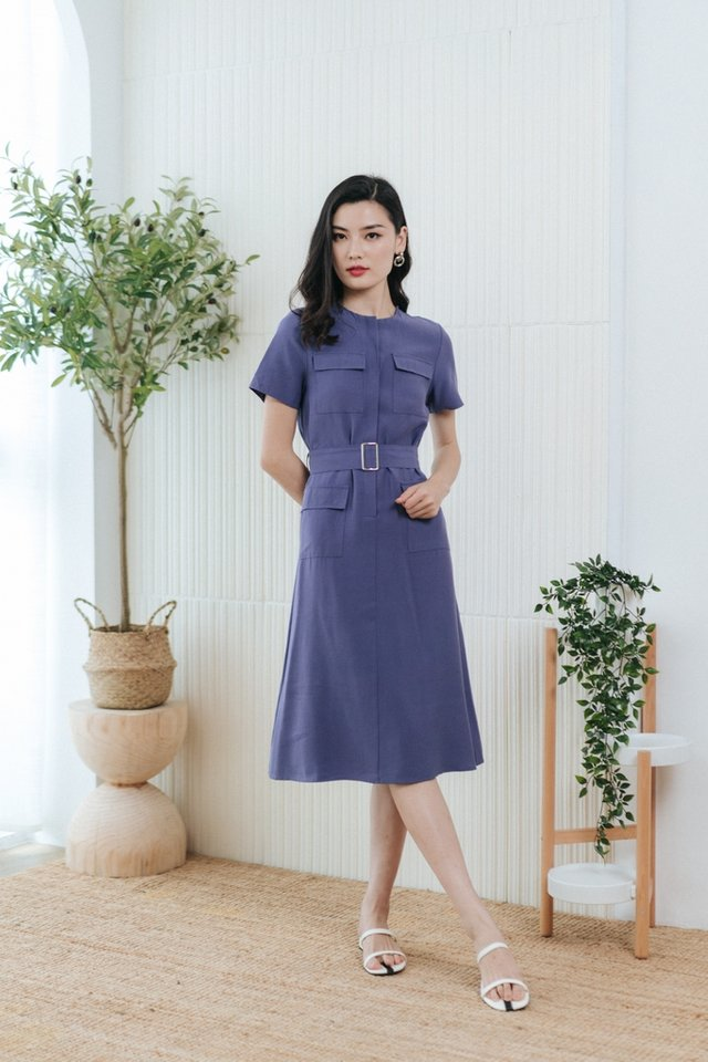 Calla Button Pocket Midi Dress in Blue