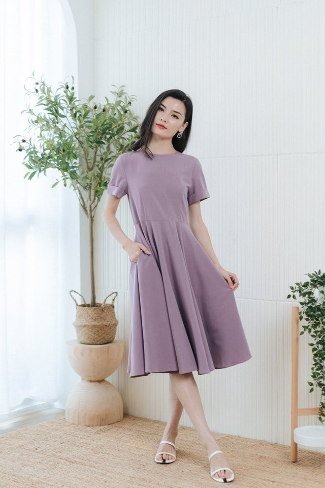 Bexley Flare Midi Dress in Dusty Purple