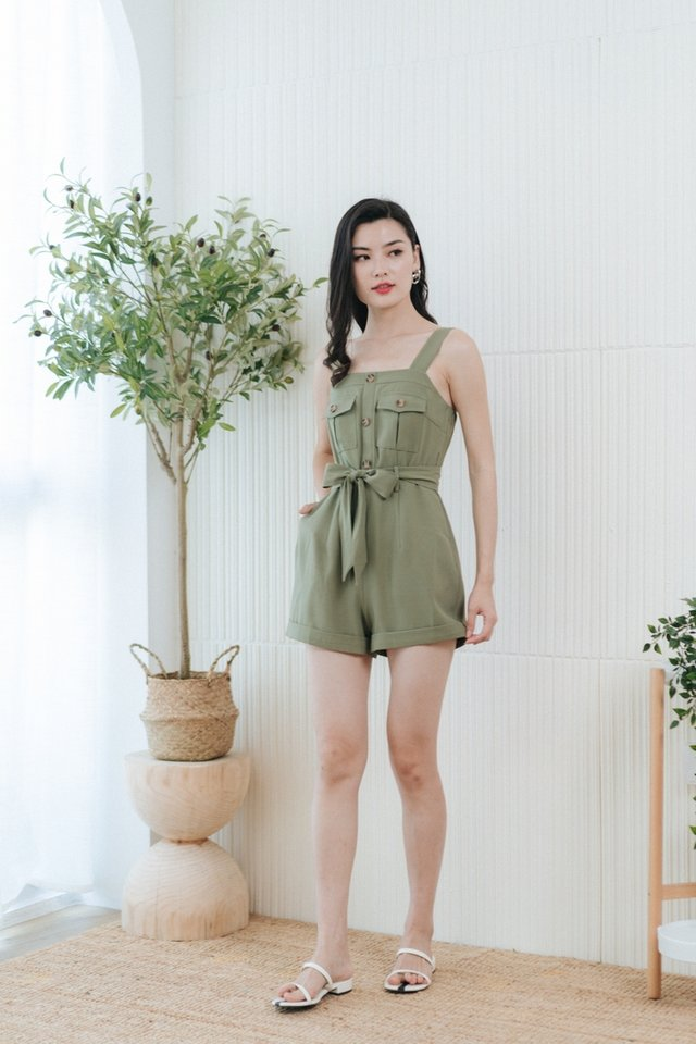 Rylee Button Pocket Romper in Olive
