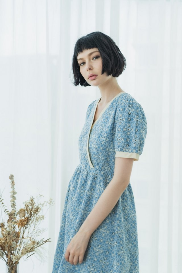 *BACKORDER* Marie Bohemian Eyelet Wrap Midi Dress in Denim Blue