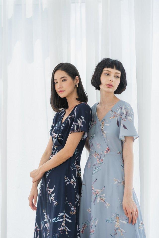 Zinnia Floral Wrap Midi Dress in Dusty Blue