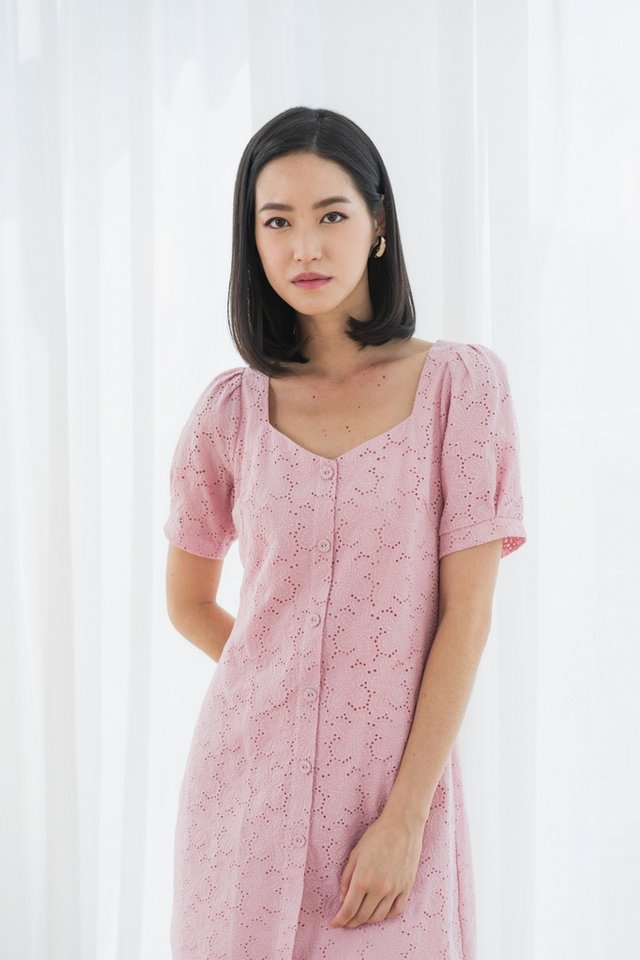 Jayana Eyelet Button Dress in Pink