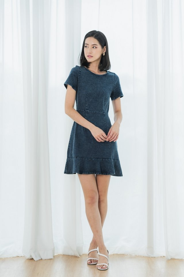 *BACKORDER* Talia Denim Dropwaist Dress in Mid Wash