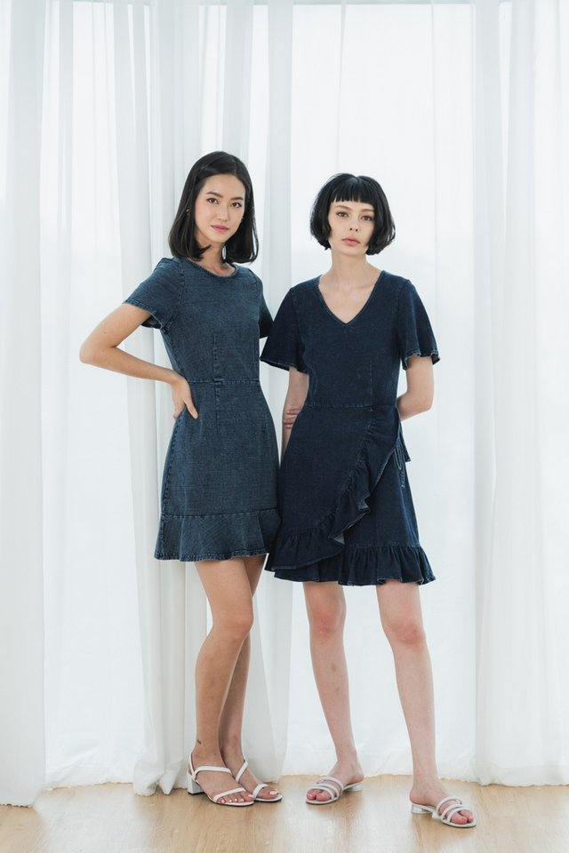 *BACKORDER* Evie Denim Signature Ruffles Dress in Dark Wash