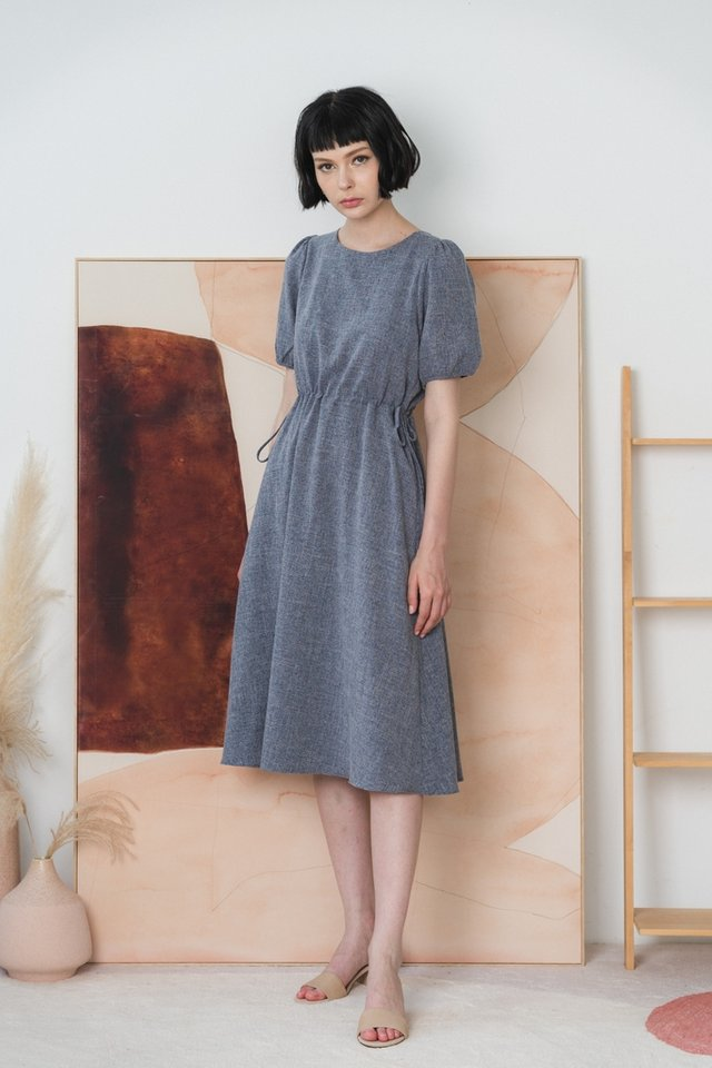 Maya Scrunch Midi Dress in Navy