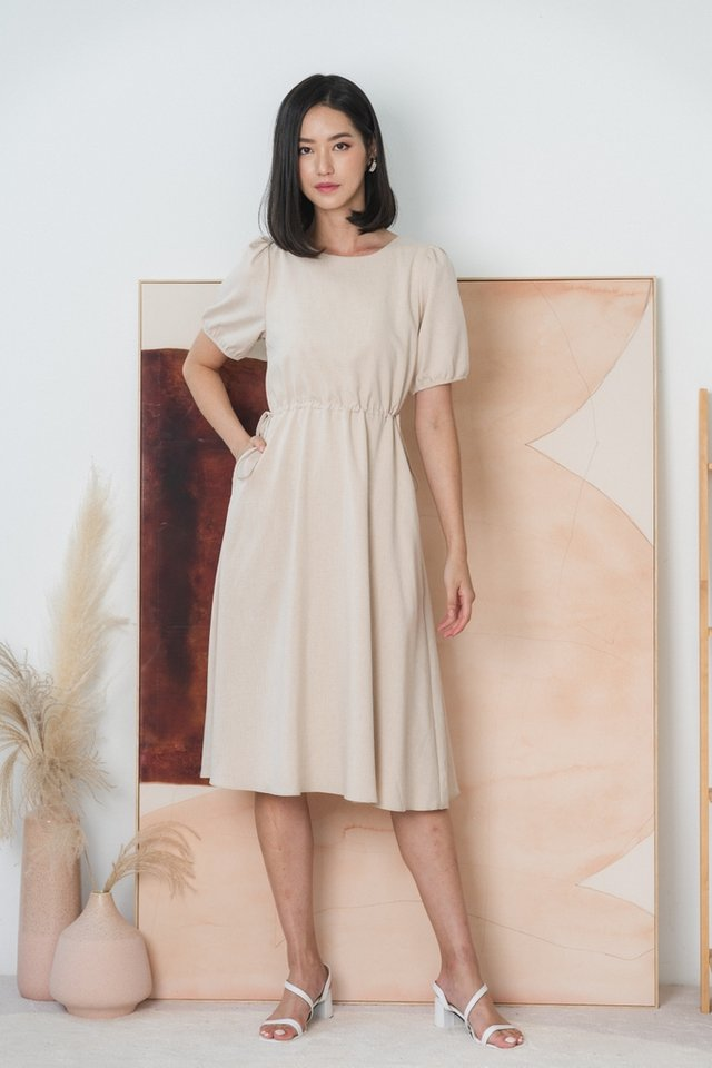 Maya Scrunch Midi Dress in Sand