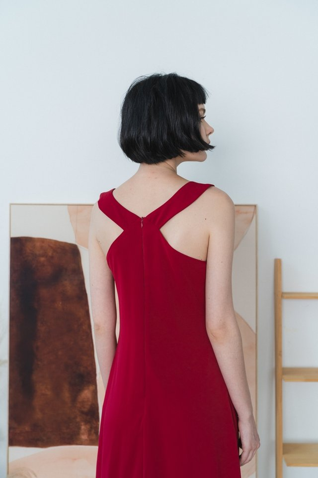 Jaylah Halter Midi Dress in Red