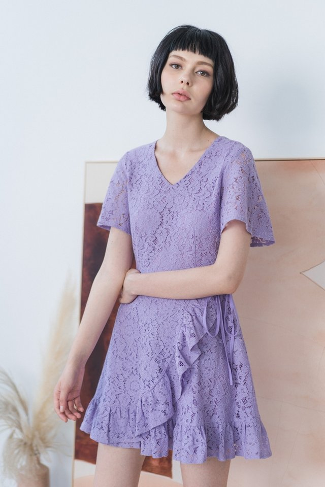 Juliet Lace Signature Ruffles Dress in Lilac