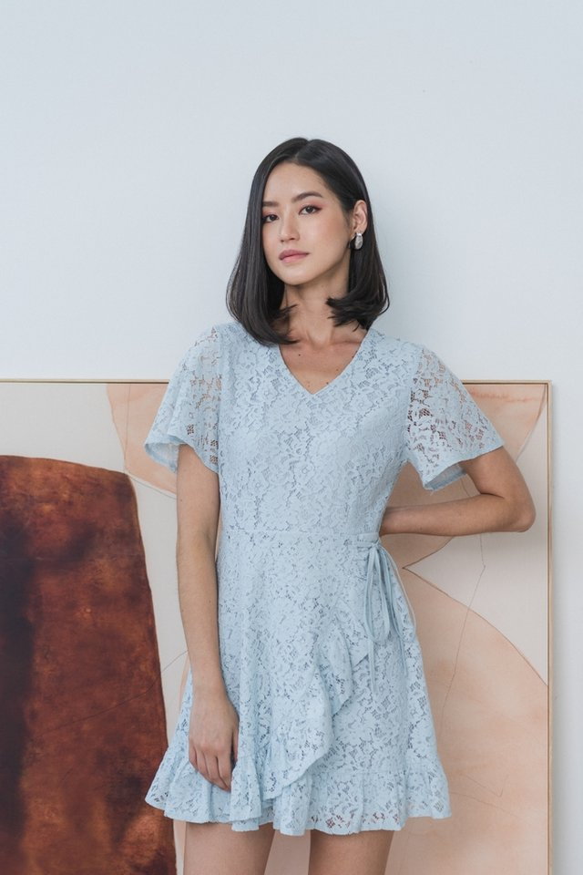 Juliet Lace Signature Ruffles Dress in Light Blue