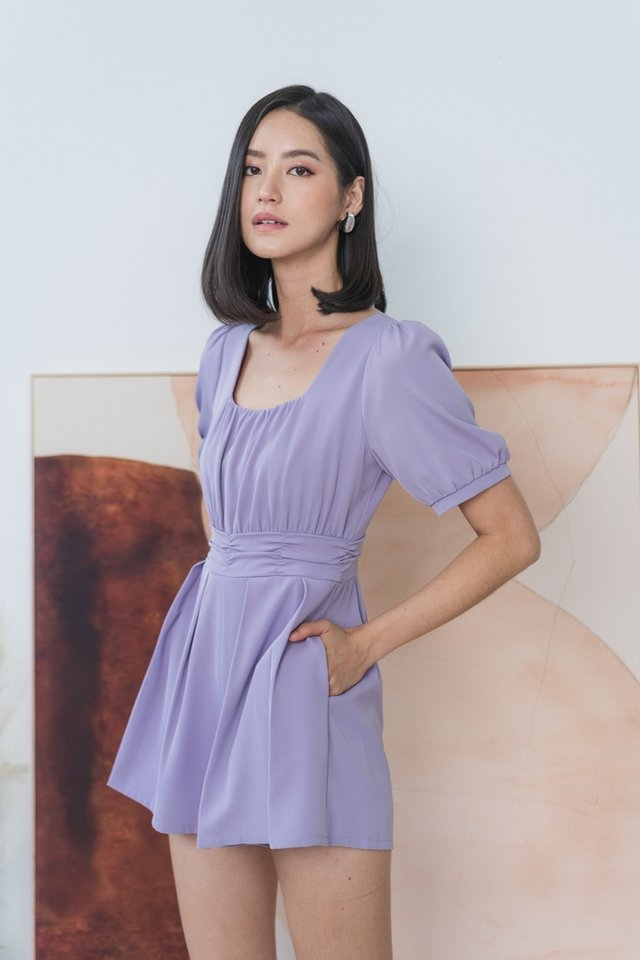 Allie Ruched Romper in Lilac