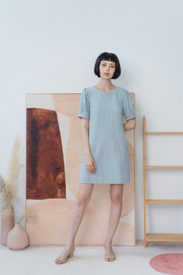 Lucinda Gingham Puffed Sleeves Dress in Sage Green