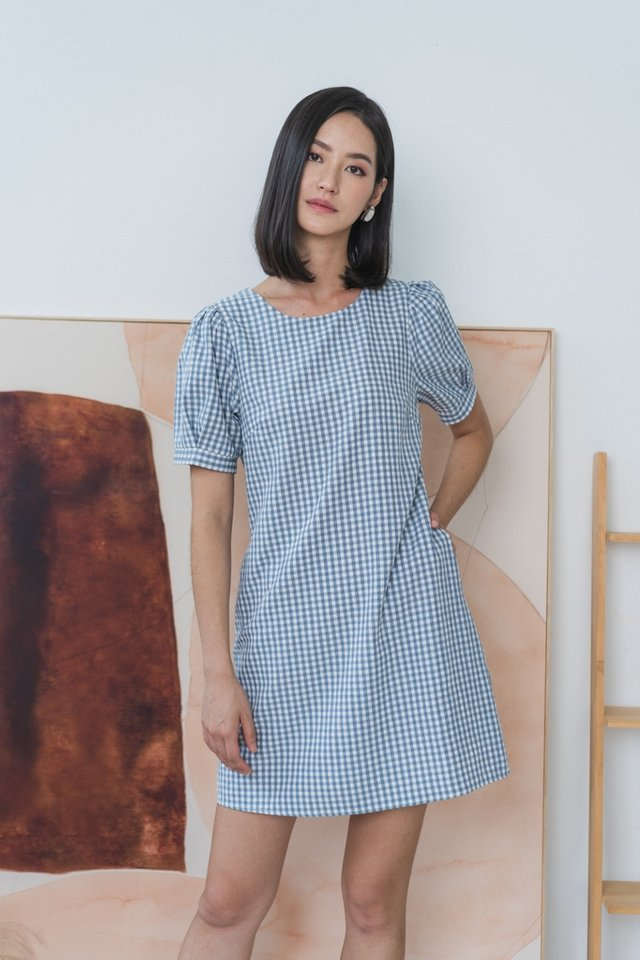 Lucinda Gingham Puffed Sleeves Dress in Blue