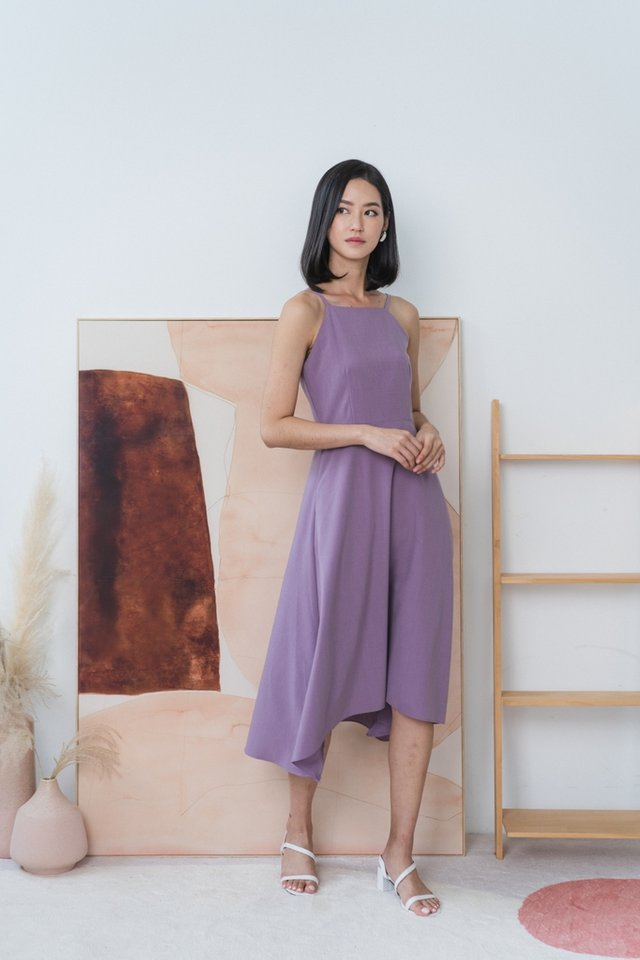 Emory Halter Midi Dress in Purple