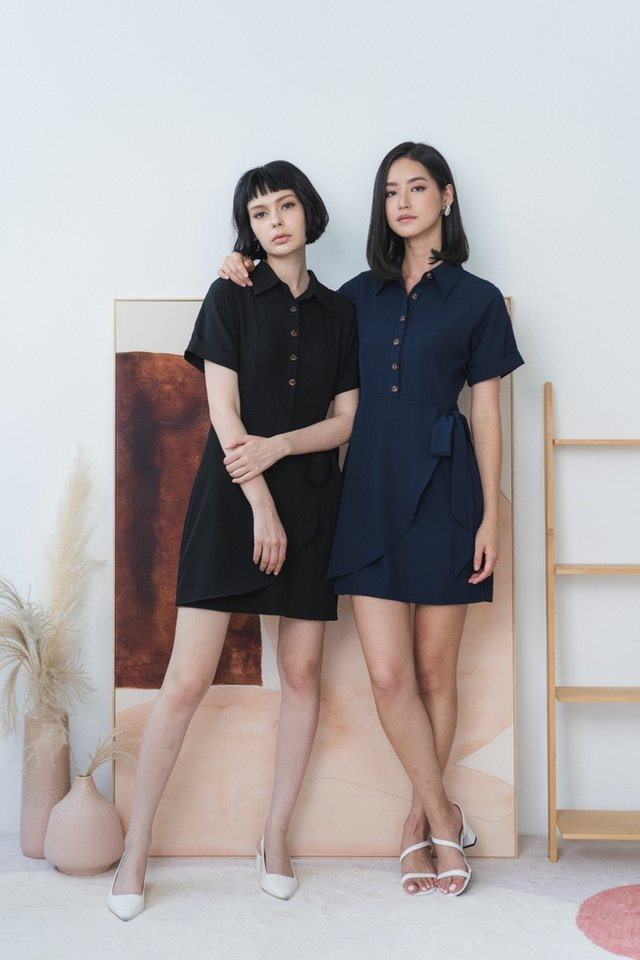 *BACKORDER* Louisa Button Overlap Dress in Navy