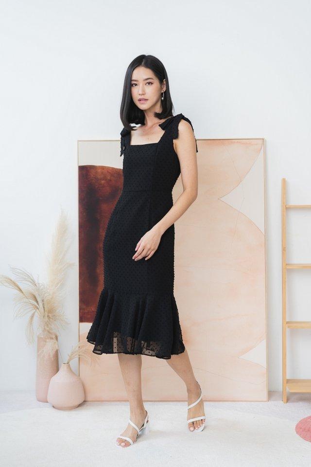*BACKORDER* Nellie Swiss Dot Ribbon Midi Dress in Black