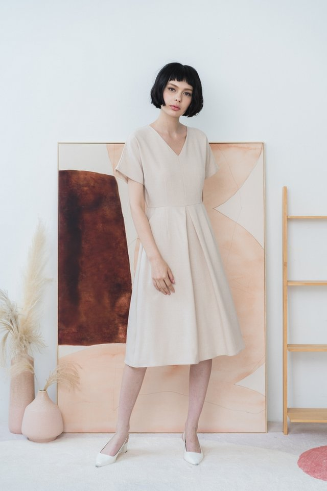 *BACKORDER* Miah Dropped Sleeves Midi Dress in Cream