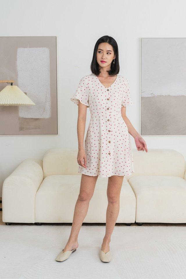 Yara Heart-Shaped Flutter Sleeves Dress in Cream