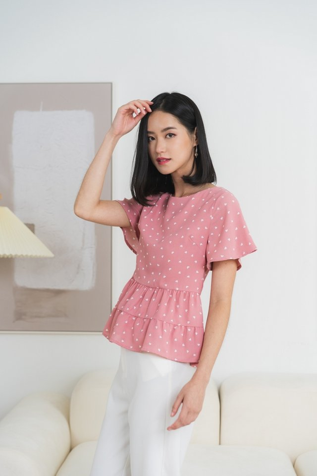 Elyse Heart-Shaped Babydoll Top in Pink