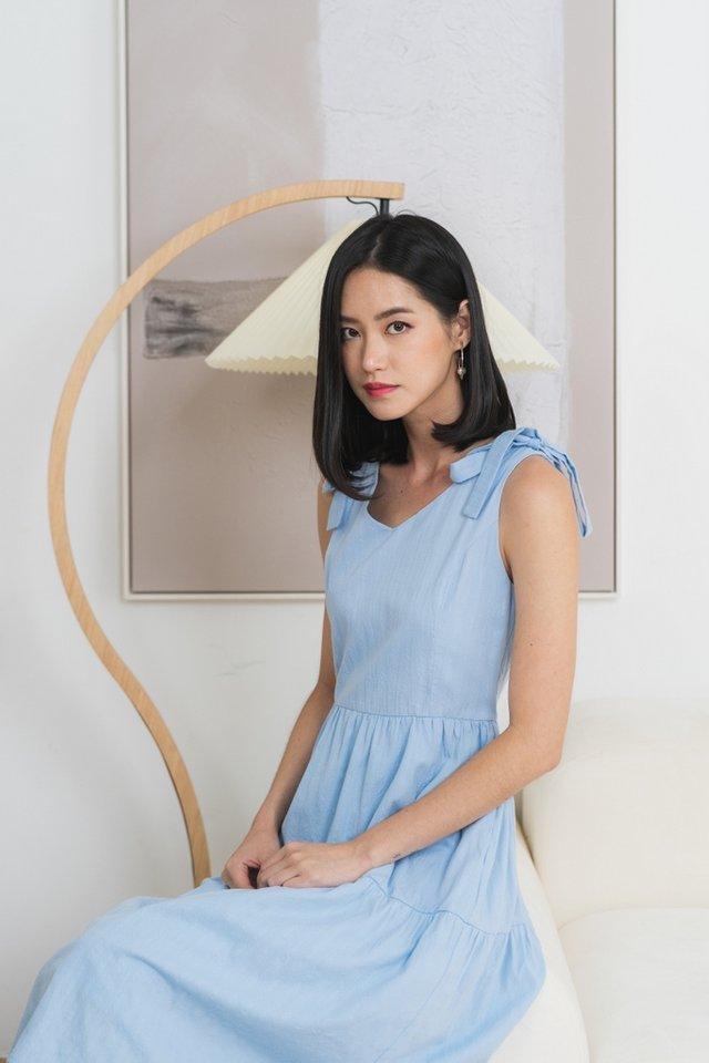 Chaya Textured Ribbon Midi Dress in Blue