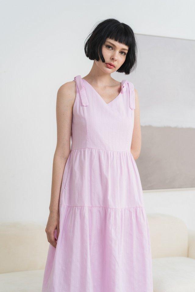 Chaya Textured Ribbon Midi Dress in Pink