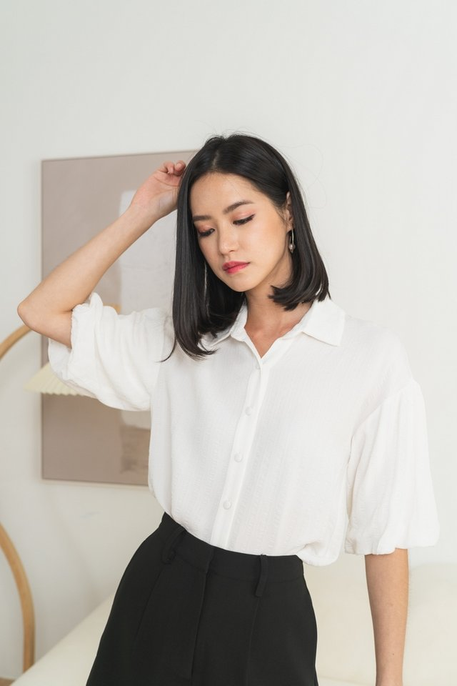 Laylah Textured Button Top in White