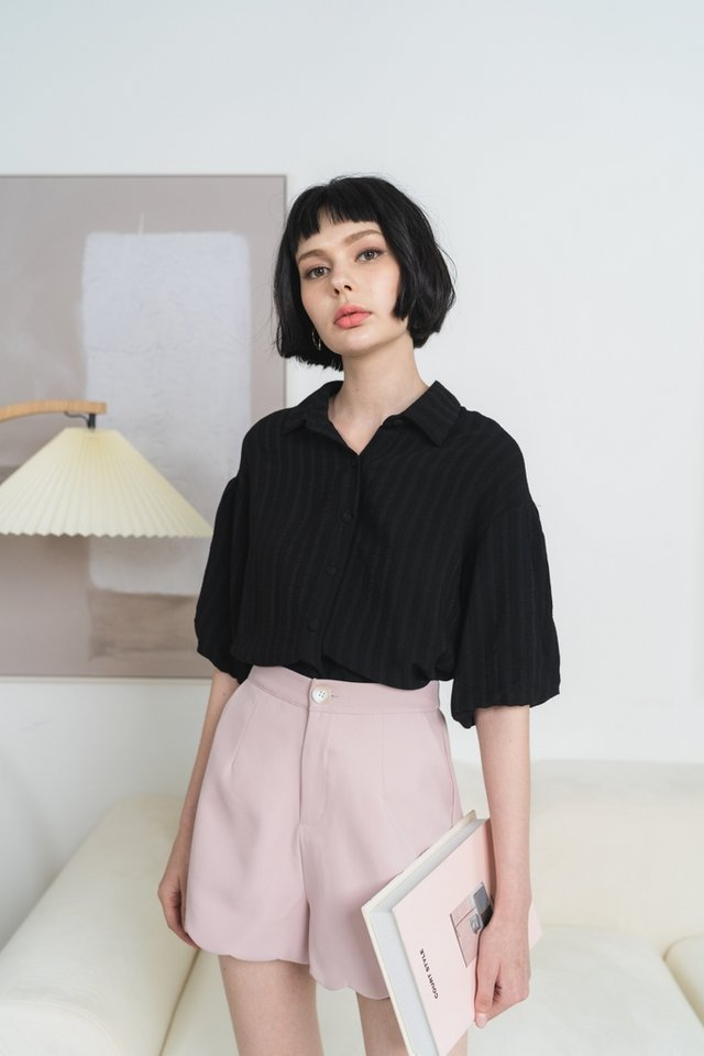 Laylah Textured Button Top in Black
