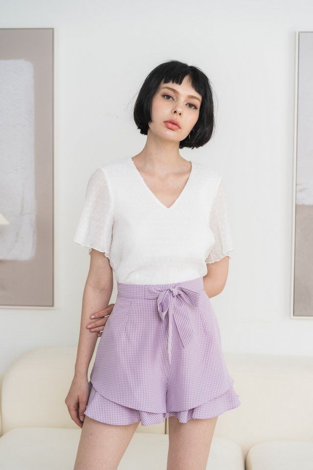 Juna Gingham Ribbon Shorts in Lilac