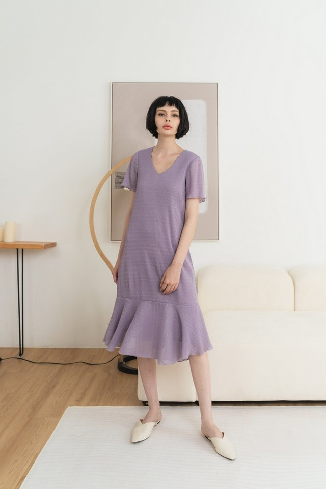 Sallie Swiss Dot Midi Dropwaist Dress in Dusty Purple
