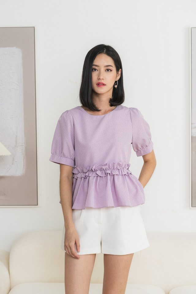 Yeona Gingham Babydoll Top in Lilac