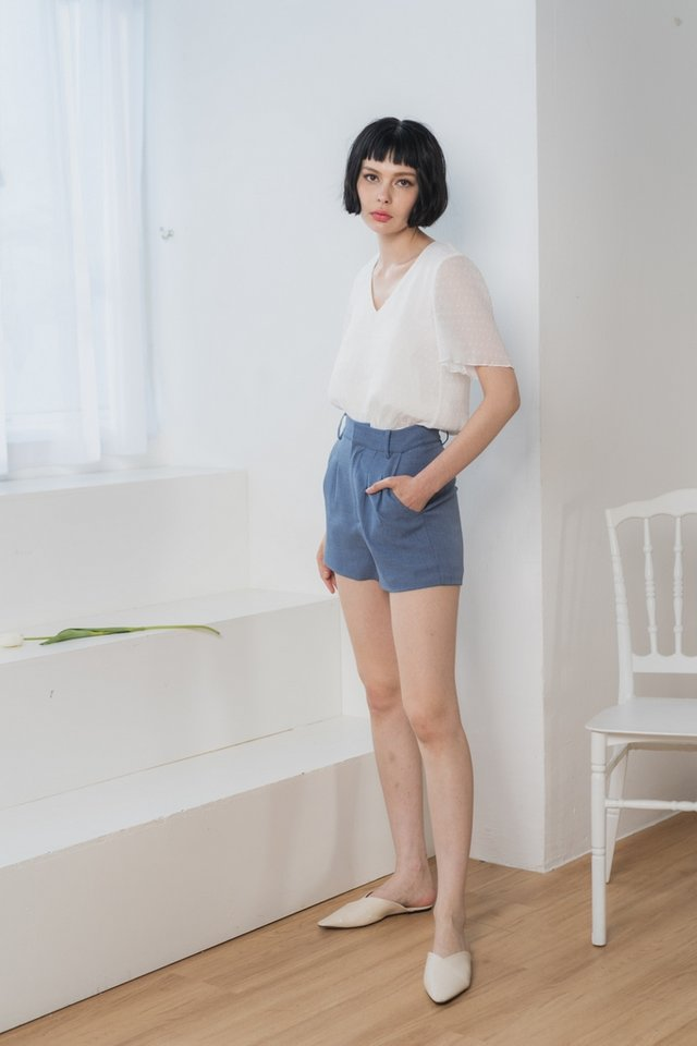 Charlotte Pocket Shorts in Denim Blue