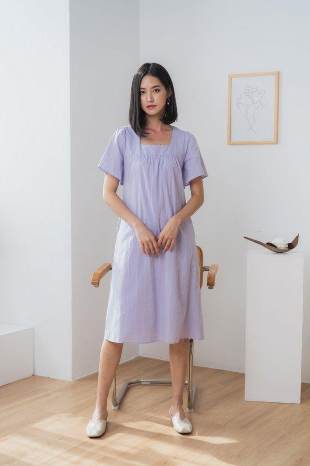 Ninetta Cotton Swiss Dot Midi Dress in Lilac