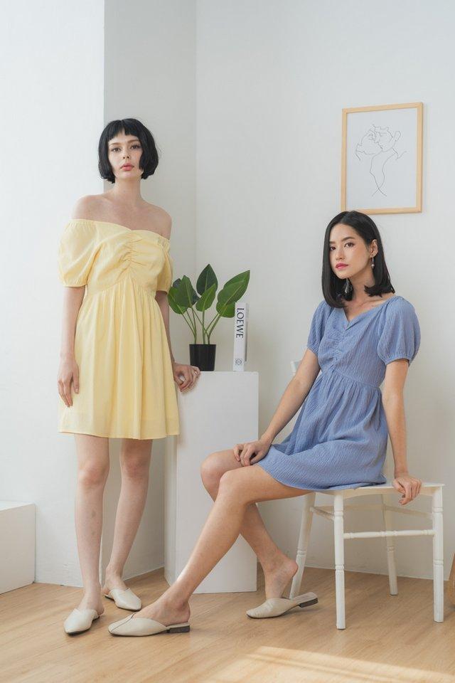 Lavanda Ruched 2-Way Dress in Cornflower Blue