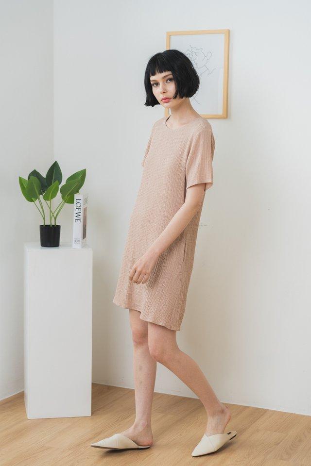 Galiana Textured Shift Dress in Sand