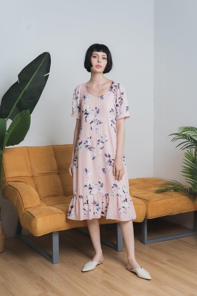 Fiorella Floral Button Midi Dress in Blush