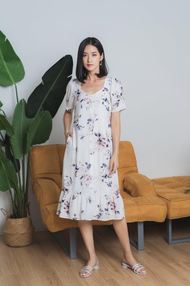 Fiorella Floral Button Midi Dress in White