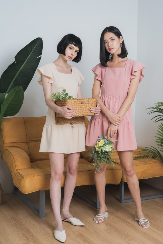 Nicola Ruffles Sleeves Babydoll Dress in Cream